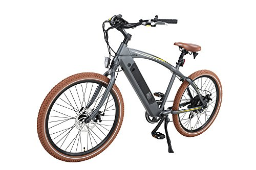 Onway 26″ 7 Speed Powers Assist Electric Bicycle Lithium Battery Motorized Ebike, 500w Powerful Bike Rear Motor, Hidden Lithium Battery, LED bike Light, Brown Tire for Beach Snow Riding