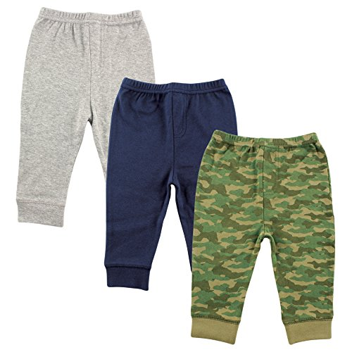 Luvable Friends Unisex 3 Pack Tapered Ankle Pants, Camo, 18-24 Months
