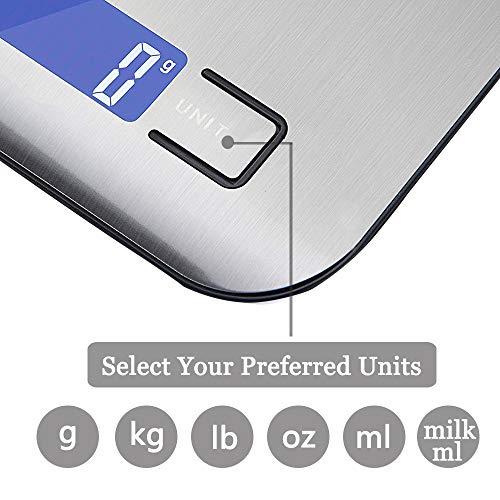 Digital-Scale-Kitchen, Digital Weight Grams and Ounces, 22lb Kitchen Scale 1g/0.05oz Precise Graduation for Cooking Baking and Weight Loss(Silver)