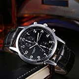 Quartz Wrist Watch,FUNIC Unisex Leather Strap Stainless Steel Dial (Black)