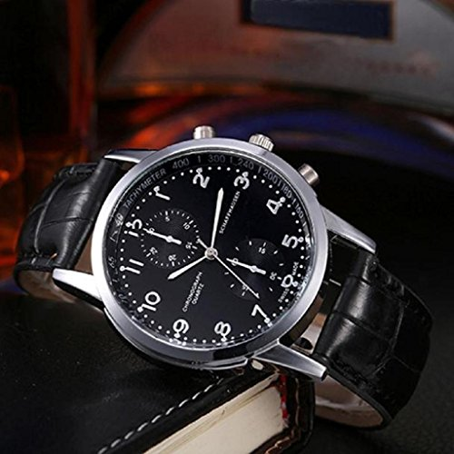 Quartz Wrist Watch,FUNIC Unisex Leather Strap Stainless Steel - Second Speedometer