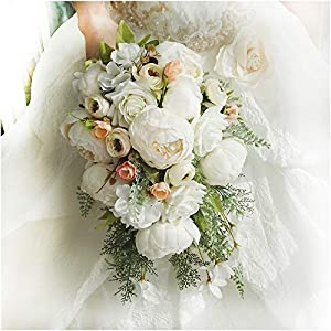 Luvier Retro White Peony Plants Teardrop Cascading Wedding Bouquets Artificial Fake Flowers lace Waterfall Shape Large Toss Bridal Bouquet (Creamy) 78