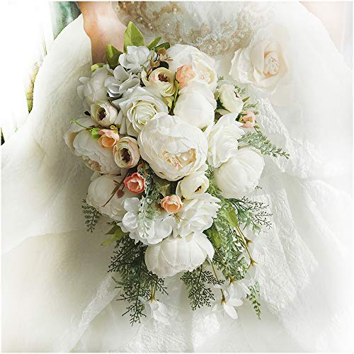 Teardrop Bridal Bouquet - Luvier Retro White Peony Plants Teardrop Cascading Wedding Bouquets Artificial Fake Flowers lace Waterfall Shape Large Toss Bridal Bouquet (Creamy)