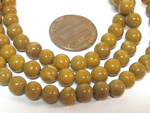 50 beads - Natural camel jasper gemstone beads mala making supplies - 6 -7 mm from Nepal - -