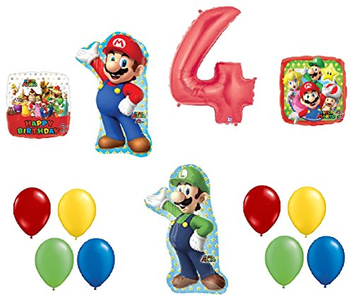 #4 4th Birthday Super Mario Brothers Mega 13 Piece Foil Mylar and Latex Balloons Party Decoration Set -