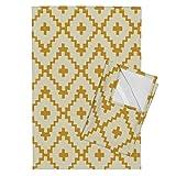 Roostery Southwest Diamonds Navajo Chevron Cross Gold Geometric Tea Towels Southwest_ Diamond Chevron - by Fable Design Set of 2 Linen Cotton Tea Towels