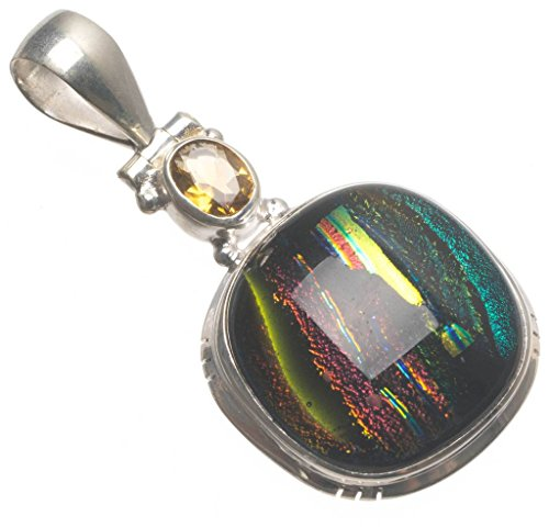 Natural Fancy Dichroic Glass and Citrine Handmade Boho 925 Sterling Silver Pendant 1 3/4