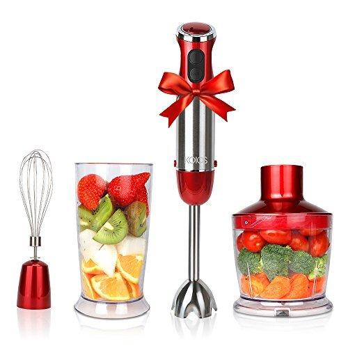 KOIOS Powerful 500 Watt Hand Blender Setting 6-12 Variable Speeds,4-in-1 Immersion Blender Includes Food Processor, BPA-Free Beaker and Stainless Steel Egg Whisk - Rose Red
