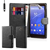 32nd® Book wallet PU leather case cover for Sony Xperia E4 mobile phone - Black