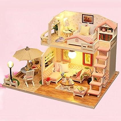 Amazoncom Pink Loft Diy Wooden Dollhouse Kits With Led