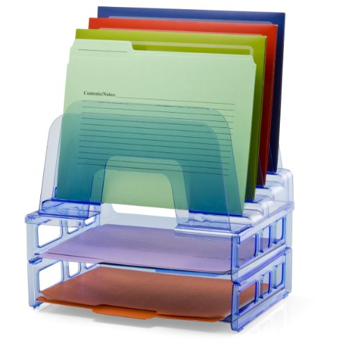 OfficemateOIC Blue Glacier Large Incline Sorter with Two Letter Trays, Transparent Blue (23211)