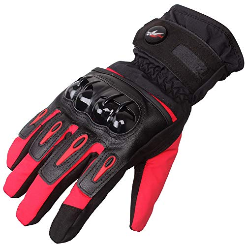 - Full Finger Motorcycle Gloves   Off-Road Riding Equipment Tactical Gloves Waterproof Cold Shatter-Resistant Knight Locomotive Windproof Warm Seasons (Color : Red, Size : XXL)