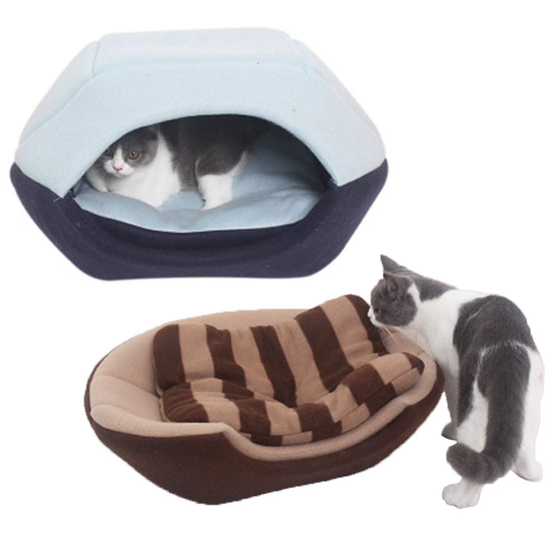 A Zhyaj Dog Kennel Foldable Cat Dog Bed House Super Soft Animals Kitten Puppy Cave Sleeping Mat Pad Nest Kennel Or Bed Dog House 2PCS,A