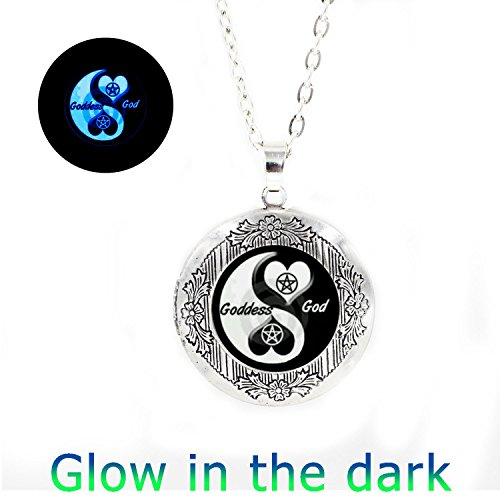 Goddess Locket - Glowlala glowing Yin yang love locket pendant, glow god goddess locket necklace ,pentacle pentagram locket necklace , yin yang locket necklace