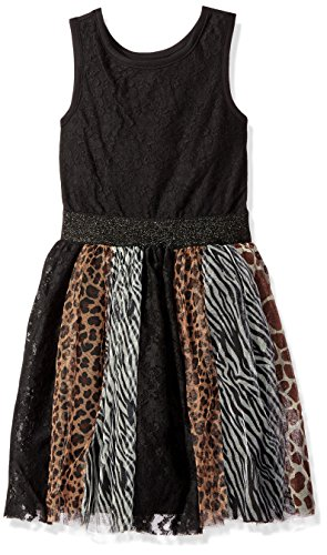 The Children's Place Little Girls' Wild Shine Dress, Black, Small/5/6 (Animal Dress For Kids)