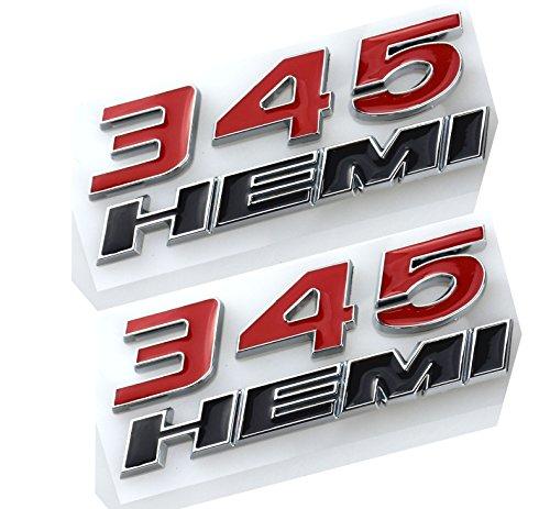 Aimoll 2pcs 345 Hemi Emblem, Badge Decal 3D Logo for Dodge Charger RAM (Red)