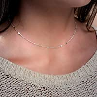 Annikabella Handmade Layering Dainty Simple Silver Doted Chain Choker Necklace For Women