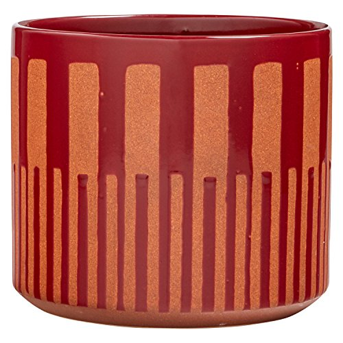 Rivet Mid Century Modern Ceramic Stoneware Indoor Planter Flower Pot - 8 Inch, Red and Orange