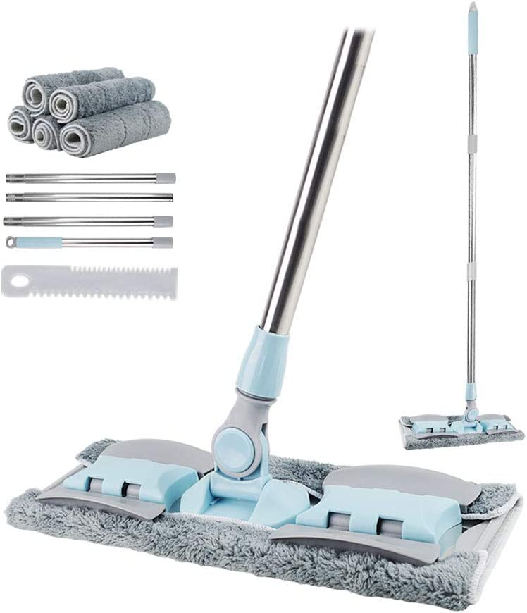 VAIIGO Fregona Profesional de Microfibra, trapeadores Planos de Limpieza con 5 Almohadillas Reutilizables y Lavables a máquina para Pisos húmedos o Secos para el hogar/Oficina (Azul)