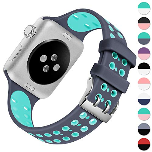 KOLEK Band Compatible with Apple Watch Series 4/3/2/1, Vibrant Durable Waterproof Breathable Silicone Sport Strap for Apple Watch 38mm 40mm