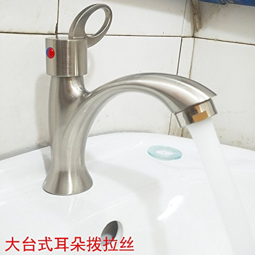Large Table Ear Dial JWLT Wash basin, washbasin, faucet, single cold, toilet, basin, drawing, single hole, 304 stainless steel faucet, 60 steel wire tube with single cold drawing of leaves