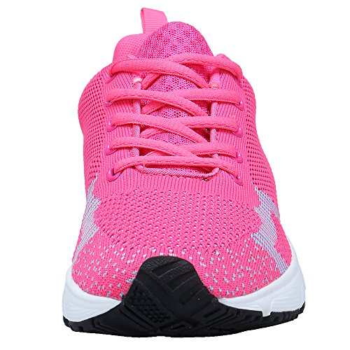 Trainers Womens Rose Walking Sneaker Lightweight Trainers Fitness Shoes Running XKMON Gym Sport Red wEBZUqwx