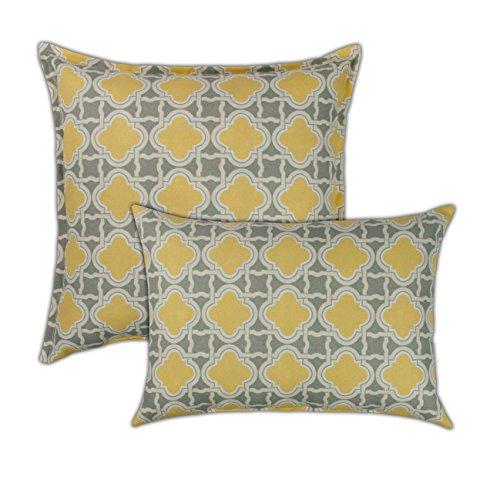 Sherry Kline Bandos Combo Outdoor Pillow, Yellow, Grey ()
