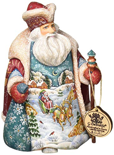 G. Debrekht Santa with Goose Hand-Painted Wood Carving