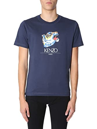 e3260b34a9a1 Kenzo Men's F865TS0274YR78 Blue Cotton T-Shirt: Amazon.co.uk: Clothing