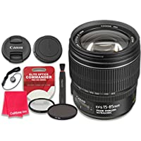 Canon EF-S 15–85mm f/3.5–5.6 IS USM Lens with Elite Optics Commander Pro HD Series Ultra-Violet Protector UV Filter & Circular Polarizer CPL Multi-Coated Filter - International Version