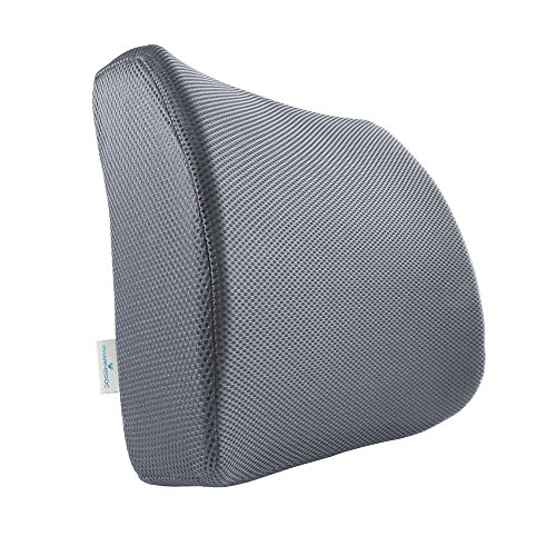 PharMeDoc Lumbar Support for Office Chair - Memory Foam Lumbar Pillow for Car Seat - Lower Back Sciatica Cushion - Orthopedic Foam Wedge - Improved Posture Corrector - Adjustable Back Pillow