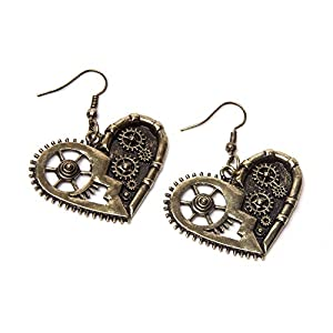 Steampunk Earrings – Gold Gear Heart
