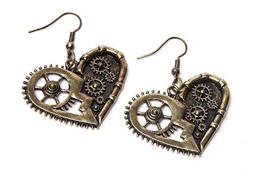 Steampunk Earrings - Gold Gear Heart 3