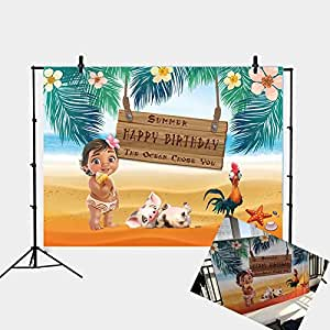 Daniu Moana Birthday Party Backdrop Sea Summer Photography Backdrop Baby Shower Vinyl Background Table Decoration Photo Booth Studio Props Backdrops ...