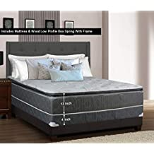 Greaton 9030vF-4/0-2LP Fully Assembled Medium Plush Pillow Top Innerspring Mattress and Low Profile Wood Box Spring/Foundation Set with Frame / 74x48 / Grey and, White, Color