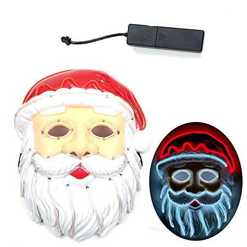 Transer LED Mask, Wire Neon Glowing Ghost Santa Claus Dance Rave Christmas Party Masquerade Ball Luminous Mask (Ordinary Paragraph) -