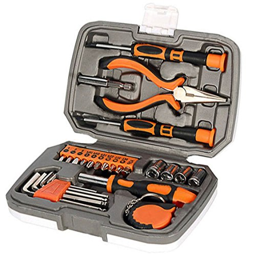 Langger Orange 25-Piece home Tool Set, General Household Hand Tool Kit with Screwdriver and Most Useful Starter Toolkits, DIY accessories - with Plastic Toolbox Storage Case ()