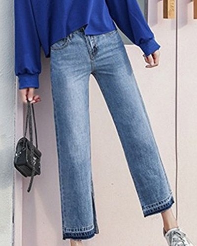 en Large Mengmiao Boyfriend Stretch Dcontracte Flare Femmes Longueur Pantalon Bootcut Vrac Taille Bleu Jambe Jeans Haute Cheville qzqp8rxnS