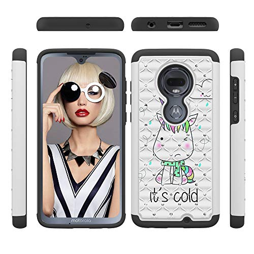 XYX Moto G7 Phone Case [Painted Pattern with Rhinestone] [Anti-Fall] 2 in 1 Rubber Hybrid Protective Cover for Motorala Moto G7 / Moto G (6th Gen), Little - Case G Moto Monster