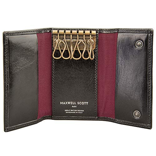 - Maxwell Scott Luxury Italian Leather Key Pouch - Lapo Black