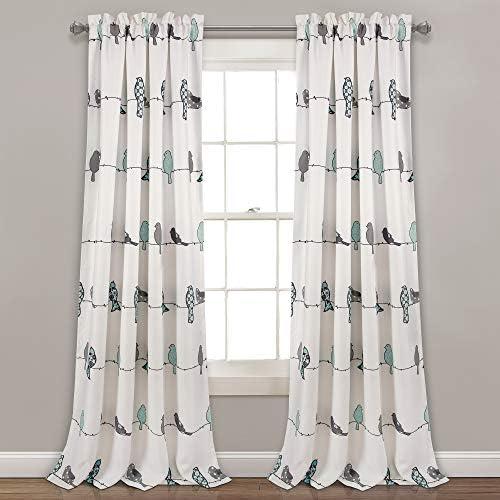 Lush Decor, Blue Gray Rowley Birds Room Darkening Window Curtain Panel Pair, 95 x 52 2 Header, 95 L