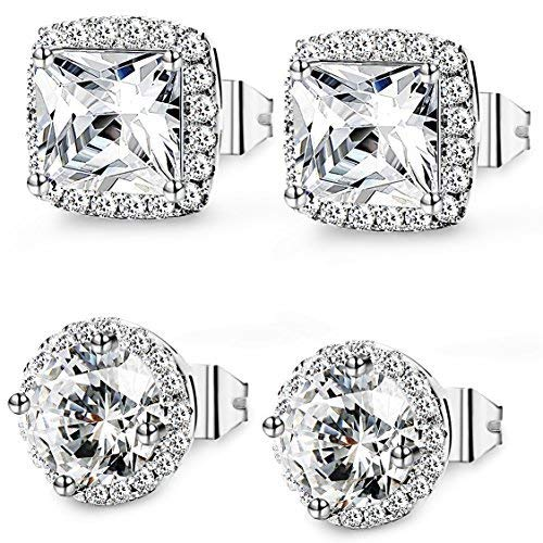Thunaraz 2Pairs Halo Stud Earrings Round Square Brillant Cut Earrings with Gift Box For Women Girl