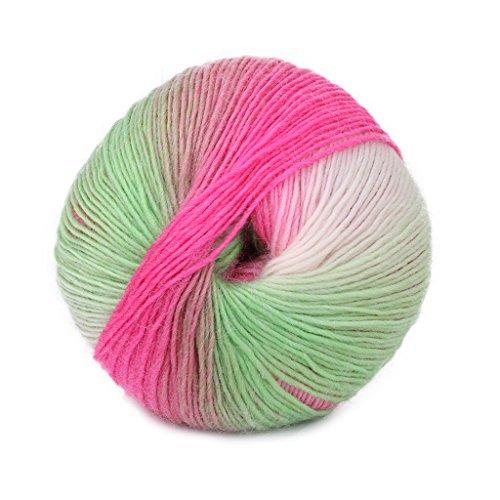RingBuu Wool Blend Yarn Knitting, 1Ball 50g Hand-woven Rainbow Colorful Crochet Cashmere (14#)
