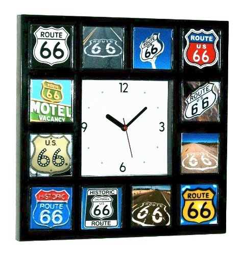 Route 66 Memorabilia - Classic Historic Route 66 Sign Clock with 12 Rt. Sixty Six Signs