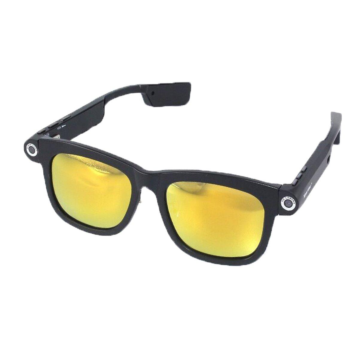 1280x720p CSR4.0 Bluetooth 32GB TFカード 内蔵 ビデオメガネネ サングラス UV400 偏光 サングラス (32G-Yellow) B078NZZ13G 32G-Yellow 32G-Yellow