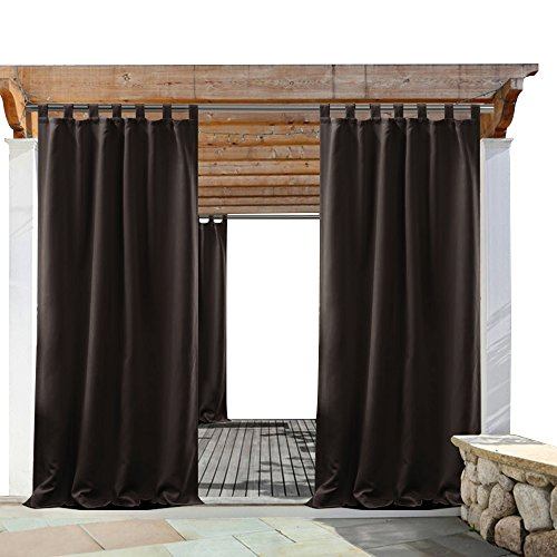 PONY DANCE Patio Outdoor Curtain - Blackout Drapes Tab Top Thermal Insulated Home Decoration Curtains/Window Shades Front Gazebo, 52 x 84 inch, Brown, Set of 1