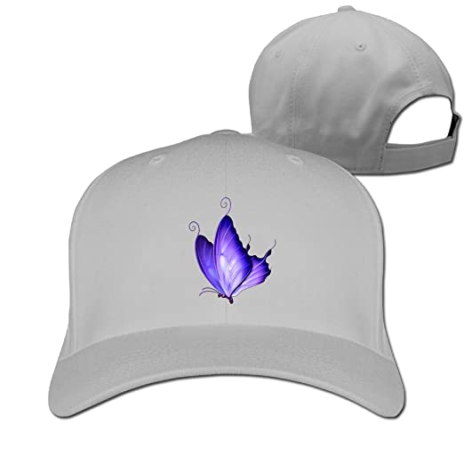 Amazon.com  Purple Butterfly Design Solid Travel Cap Baseball Cap ... dcaa93084445