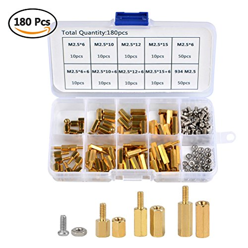 QLOUNI 180PCS M2.5 Male Female Hex Brass Spacer Standoff Stainless Steel Screw Nut Assortment Kit