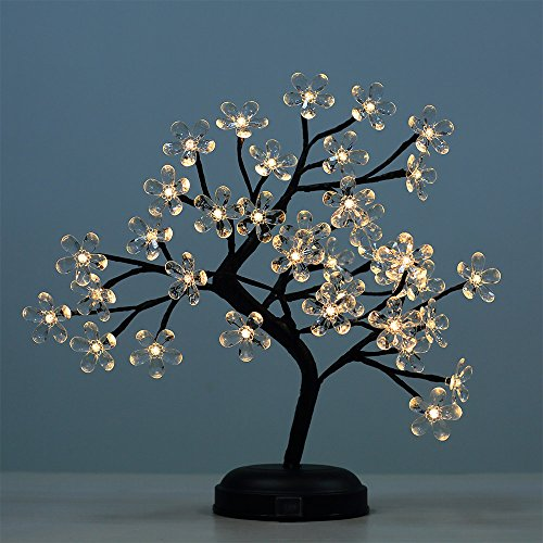 Lightshare 18-inch Crystal Flower LED Bonsai Tree, Warm White, 36 LED Lights, Clear Flower, Battery Powered or DC adapter(included), Built-in timer - Flowers White Crystal