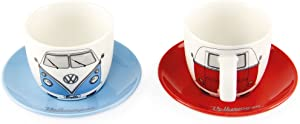 BRISA VW Collection - Volkswagen Samba Bus T1 Camper Van Espresso Cup 2-pc Set in Gift Box for Kitchen, Garage, Office - Camping Equipment/Gift-Idea/Souvenir (Design: Front/Red/Blue)